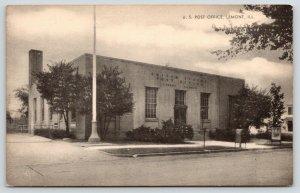 Lemont Illinois~US Post Office~Sign on Sidewalk~1940s B&W Postcard