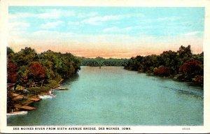 Iowa Des Moines The Des Moines River From Sixth Avenue Bridge Curteich