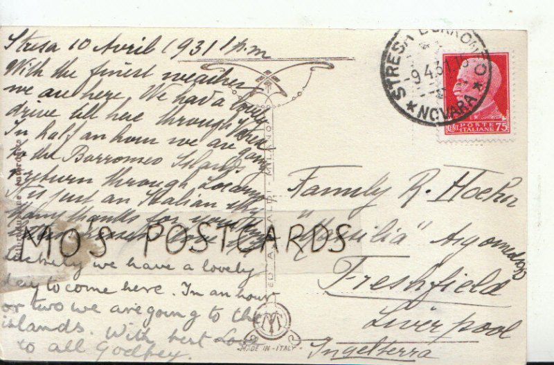 Genealogy Postcard - Hoehn - Argomeols Road - Freshfield - Liverpool - Ref 8891A