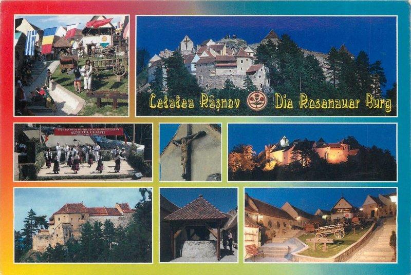 Post card Romania Rasnov Fortress several aspects