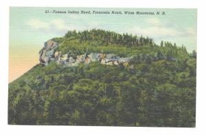 White Mountains NH Indian Head Franconia Notch Vintage Linen Postcard