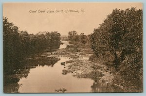 Ottawa IL~Covel Creek View From State Illinois Route 23(?) c1910 Sepia Kneussl