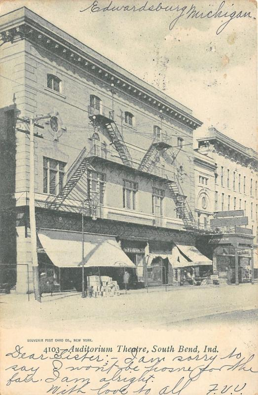 South Bend Indiana~Auditorium Theatre~Pile of Boxes~Awnings~1905 Postcard