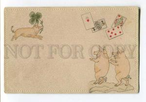 257059 Happy PIG Clover & PLAYING CARDS Vintage OPF postcard
