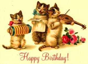 Happy Birthday! - Three Kittens Making Music - Continental Size - New