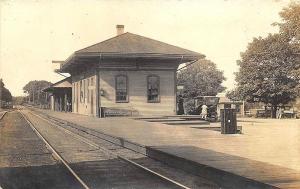 Falmouth MA Railroad Station Train Depot Old Car RPPC Postcard