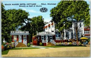 Biloxi, Mississippi Postcard BEACH MANOR HOTEL COTTAGES Kropp Linen 1950s Unused