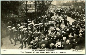 1911 A1 SUBMARINE DISASTER England Postcard Funeral of the Crew at Haslar