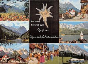 Gruss aus Garmisch Partenkirchen, Gesamtansicht Kirche Edelweiss Train Lake Boat