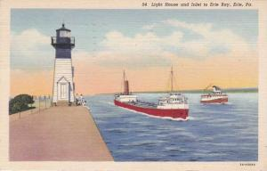 Light House and Freighter at Erie Bay Inlet Erie PA Pennsylvania pm 1943 - Linen