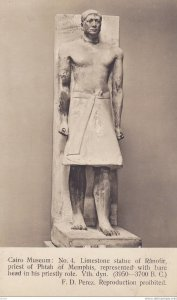RP: Cairo Museum , Egypt , 00-10s ; Limestone Statue of Ranofir priest of Pht...