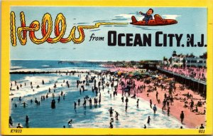 NEW JERSEY POSTCARD: AERIAL BEACH & BOARDWALK SCENE HELLO FROM, OCEAN CITY, NJ