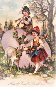 Easter card with two children and a lamb, Embosed