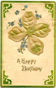Greeting - Birthday     (fabric shamrock)