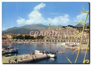 Modern Postcard The French Riviera Menton harbor