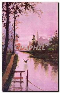 Fancy Old Postcard View Casiez River Bourgeois Cambrai