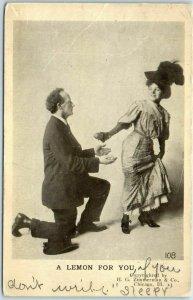Vintage Comic / Romance Postcard A LEMON FOR YOU 1908 Kansas Cancel
