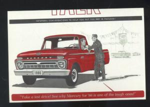 1966 MERCURY PICKUP TRUCK CAR DEALER ADVERTISING POSTCARD '66