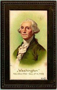 Vintage GEORGE WASHINGTON'S BIRTHDAY Embossed Greetings Postcard w/ 1908 Cancel