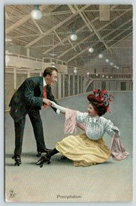 TUCK The Rollers Serie~Rink~Victorian Roller Skating Couple~Precipitation~1908