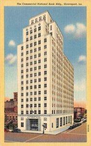 SHREVEPORT, LA Louisiana COMMERCIAL NATIONAL BANK & Street View c1940's Postcard