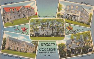 Harper's Ferry West Virginia Storer College Multiview Linen Postcard J74610