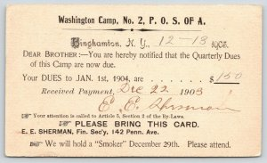 Binghamton NY~Wa Camp Dues~Patriotic Order Sons America~Hold Smoker Dec 29~1903
