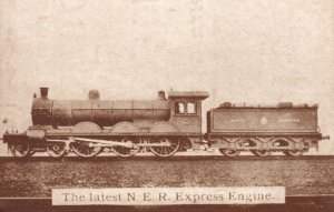 The Latest NER Express Engine Train Poster Antique Advertising Postcard