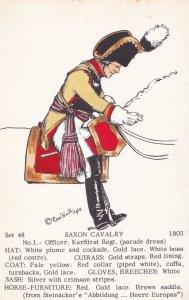 Officer Saxon Kurfurst Regiment Napoleonic War PB Uniform Postcard