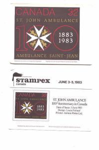 St. John Ambulance Stamp on Stampex Postcard1983,