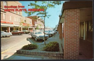 Nebraska  NORTH PLATTE Street View Store Fronts Older Cars - Chrome