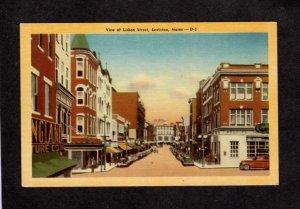 ME Lisbon St Street Stores Lewiston Maine Linen Postcard