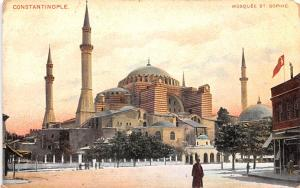 Turkey Old Vintage Antique Post Card Mosquee St Sophie Constantinople Tape on...
