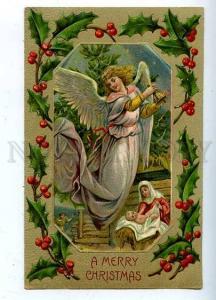 185489 X-MAS Christmas Winged ANGEL Baby Vintage EMBOSSED PC