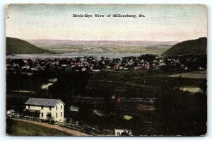 Postcard PA Millersburg pre 1920 Birds Eye Airview of the Town City R49
