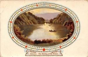 Killarney The Meeting of the Waters, boat, landscape, embossed