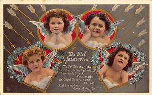Valentines Day Hearts and Rings Rapholette #150 Postcard