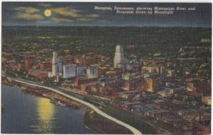 Memphis, Tennessee, showing Mississippi River and Riverside Drive by Moonlight