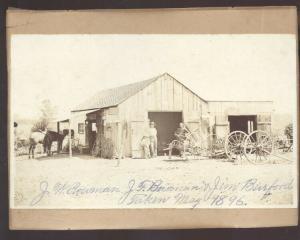 REAL PHOTO MOUNTED PHOTOGRAPH WARRENSBURG MISSOURI BLACKSMITH SHOP 1896
