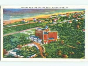 Linen AERIAL VIEW OF CAVALIER HOTEL Virginia Beach Virginia VA W5517