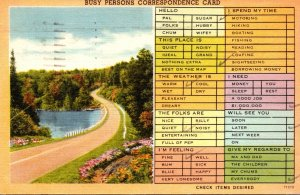 Humour Busy Person's Correspondence Card 1950