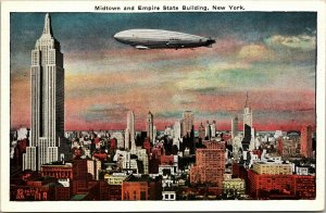VTG  Midtown & Empire State Building New York USA Zeppelin Illustrated Postcard