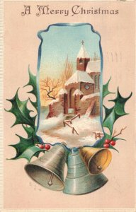 Circa 1908Snow Covered Church Bells Holly Berries Christmas Embossed Postcard