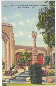 San Francisco Golden Gate International Expo 1939 Court of Flowers Postcard