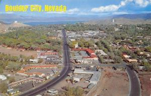 Boulder City Nevada~Birdseye View~Highway Businesses~Homes~Lake~1966 Postcard