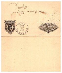 UTICA & BINC. R.P.O. 1910  , Postcard with Paid Reply