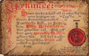 GRUSS AUERBACHS KELLER~WEINSTUBE BESTEHEND SEIT 1438~LEIPZIG GERMANY POSTCARD