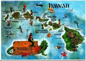 Hawaii Map Of Hawaiian Islands 1984