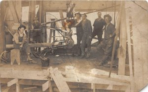 F82/ Occupational RPPC Postcard c1910 Workers Overalls Hoist Pulley 15