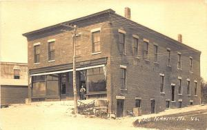 North Anson ME Main Street Brick Store Front Post Office RPPC Postcard